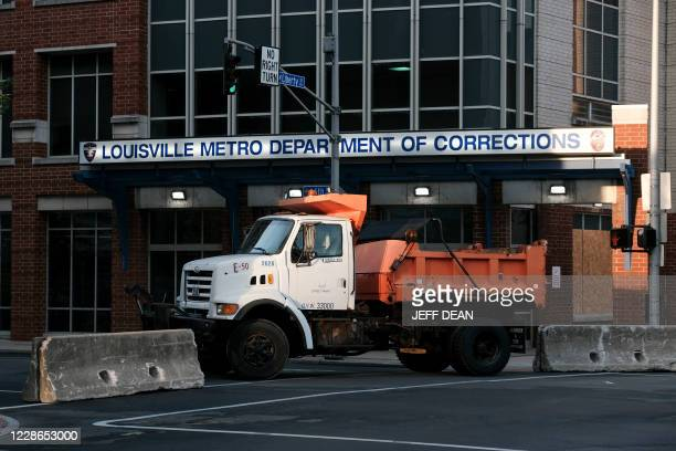 City of Louisville public works trucks block an intersection in downtown Louisville Kentucky on September 22 2020 in anticipation of the results of a...