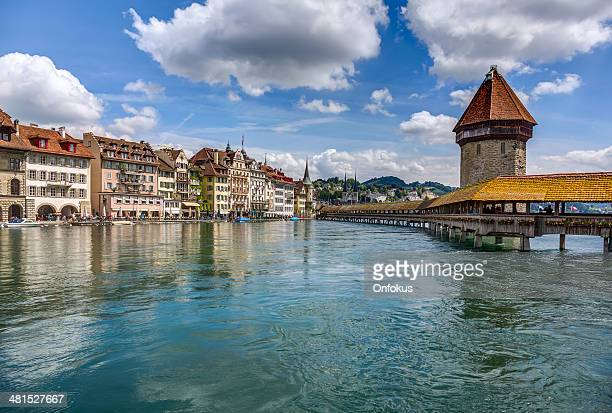 City of Luzern with Swan on Lake, Switzerland