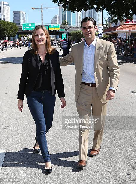 City of Miami Commissioner Francis Suarez and his wife participate in the 43rd Annual Three Kings Day Parade on January 20 2013 in Miami Florida