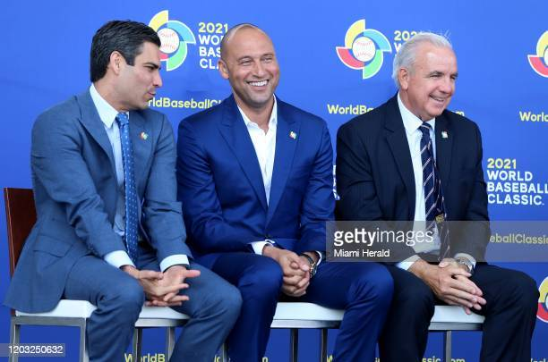 City of Miami mayor Francis Suarez Miami Marlins CEO Derek Jeter and MiamiDade County mayor Carlos Gimenez shared during a press conference to...