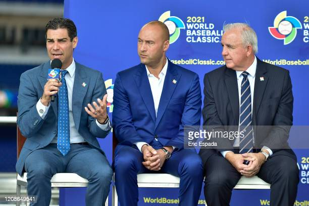 City of Miami Mayor Francis X Suarez answers a question during the press conference to announce the World Baseball Classic will be held in Miami next...