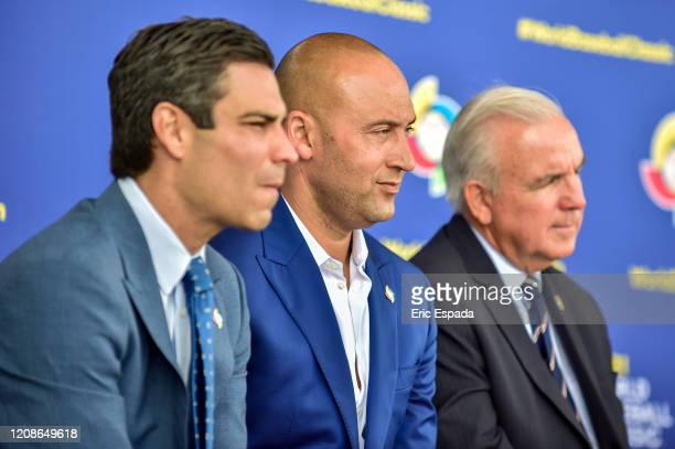 City of Miami Mayor Francis X Suarez CEO Derek Jeter of the Miami Marlins and Miami Dade County Mayor Carlos A Gimenez look on during the press...
