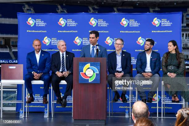 City of Miami Mayor Francis X Suarez speaks during the press conference to announce the World Baseball Classic will be held in Miami next year on...