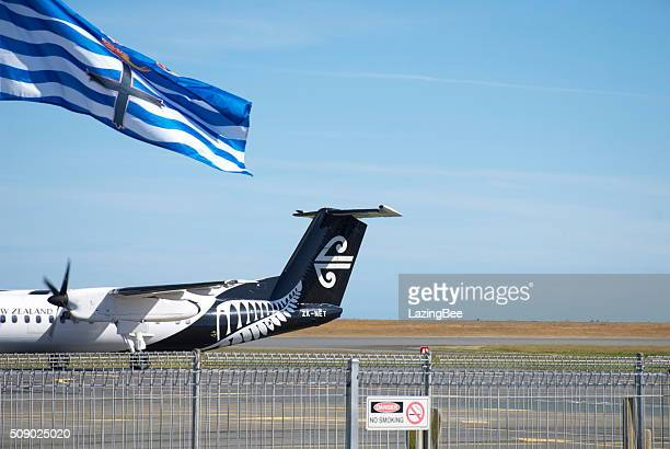 city of nelson flag and air new zealand aeroplane - all blacks rugby team stock pictures, royalty-free photos & images