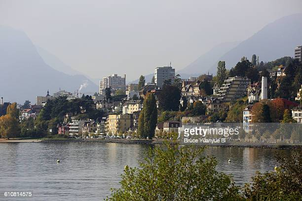 city of neuchate with lake neuchatel - ヌーシャテル ストックフォトと画像