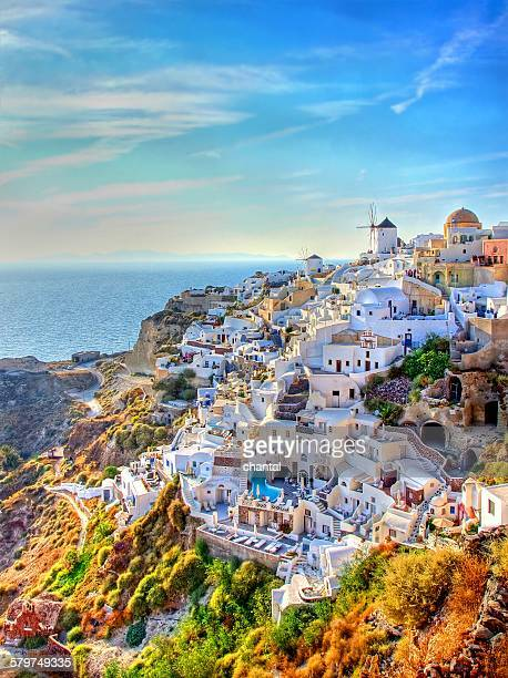 City of Oia at Santorini , Greece