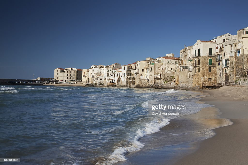 City of old buildings on beach : Foto de stock