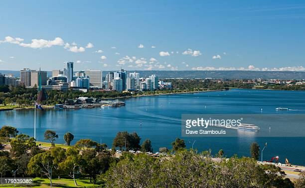 City of Perth along the Swan River, Western Australia