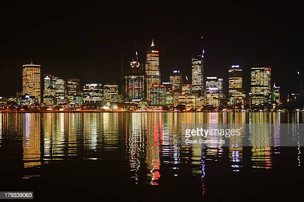 City of Perth reflected in the Swan River at night, Western Australia