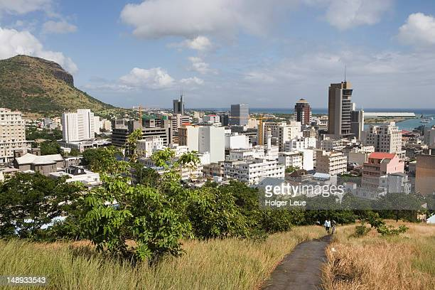 city of port louis from fort adelaide citadel. - port louis stock photos and pictures