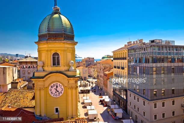city of rijeka clock tower and central square - rijeka stock pictures, royalty-free photos & images