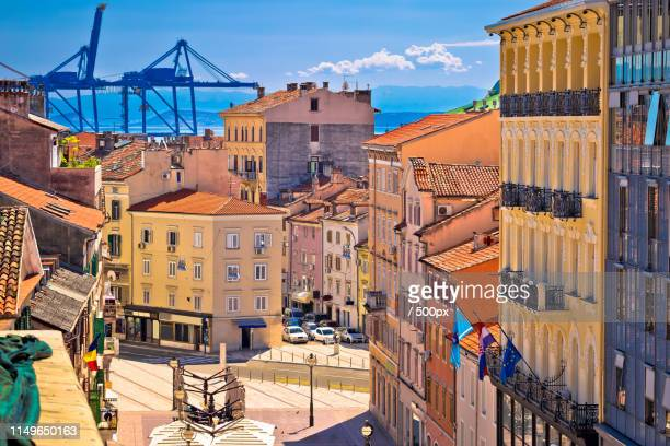 city of rijeka korzo square and harbour cranes aerial view - rijeka stock pictures, royalty-free photos & images