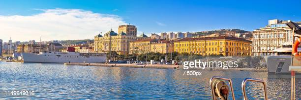 city of rijeka waterfront boats and architecture panoramic view - rijeka stock pictures, royalty-free photos & images