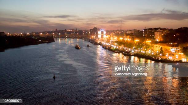 city of rostov-on-don and majestic don river late at night, southern russia - rostov on don stock pictures, royalty-free photos & images