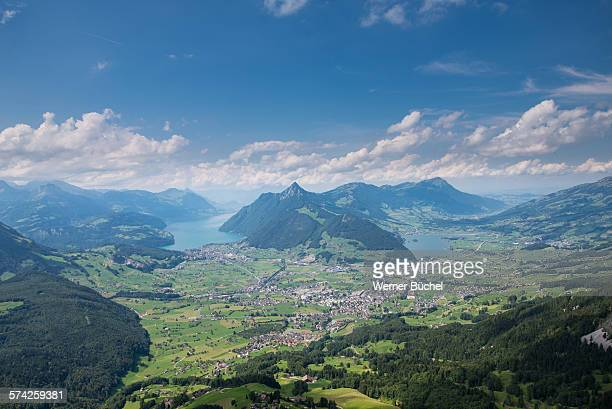 city of schwyz - mountain landscape - schwyz stock pictures, royalty-free photos & images