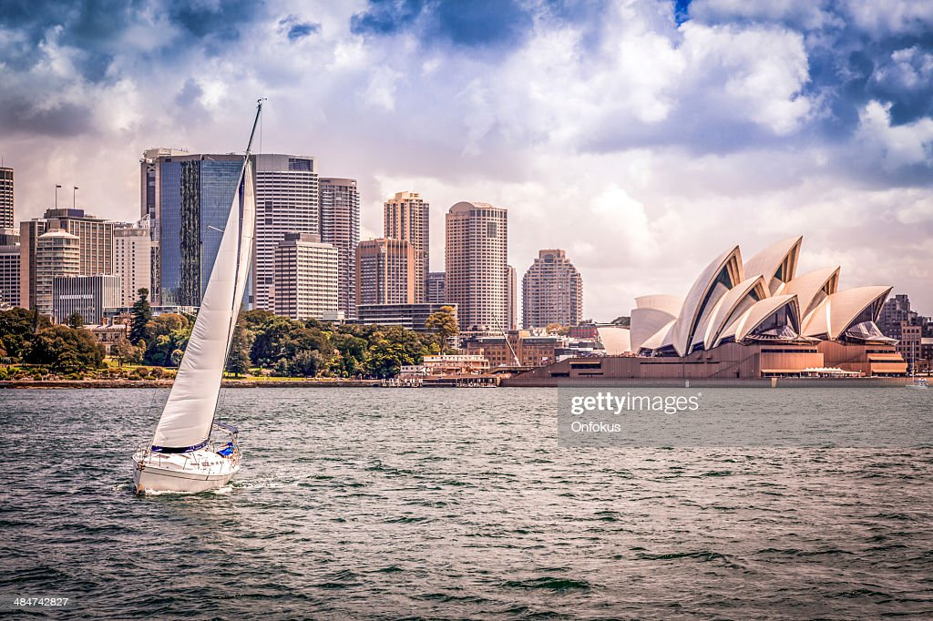 City of Sydney Cityscape with Opera House and Sailing Boat : Stock Photo