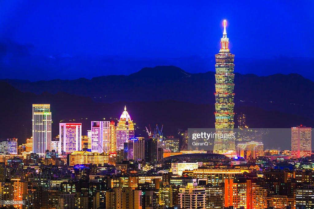 City of Taipei at night,Taipei,Taiwan : Stock Photo
