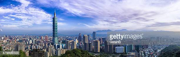 city of taipei  panorama - taiwan stock photos and pictures