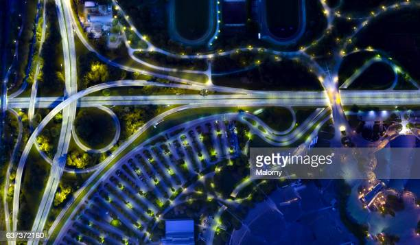 city of the future at night. top view, view from above, aerial view - driverless transport stock pictures, royalty-free photos & images
