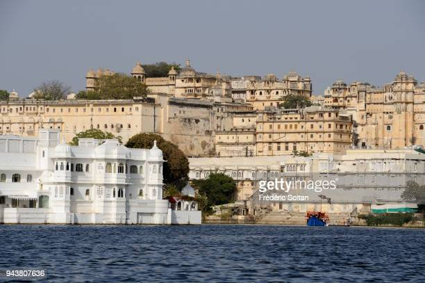 City of Udaipur View of the City Palace from the Lake Pichola in Rajasthan on March 10 2017 in India