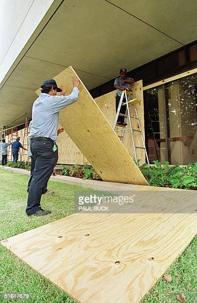 City of Victoria, Texas, employees place plywood over plate glass windows at the Victoria Public Library in anticipation of the arrival of Hurricane...
