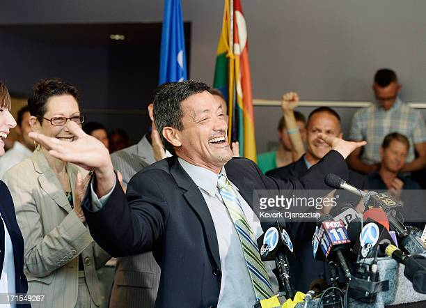 City of West Hollywood council member John Duran celebrates during a news conference at the West Hollywood City Hall after the US Supreme Court made...