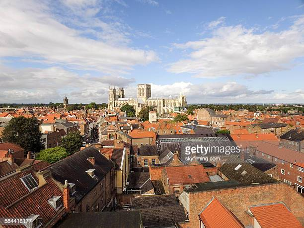 city of york rooftops aerial photograph - york yorkshire stock photos and pictures