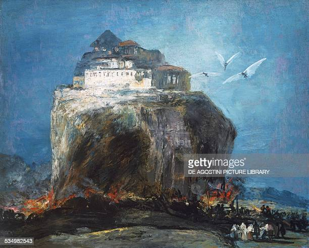 A city on a rock 1875 by Eugenio Lucas Velazquez previously attributed to Francisco de Goya oil on canvas 84x104 cm Spain 19th century New York The...