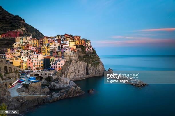 City on cliffs, Manarola, La Spezia, Liguria, Italy