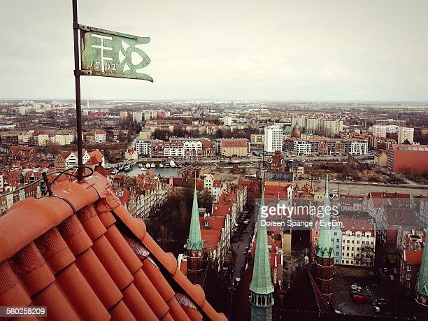 city on cloudy day - pomorskie province stock photos and pictures