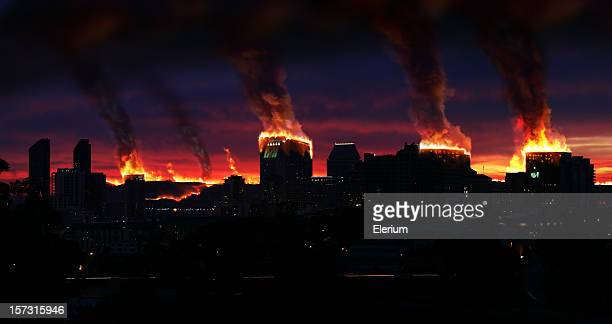 city on fire - california wildfire stock pictures, royalty-free photos & images