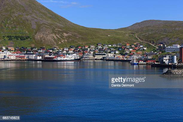 City on hill with harbor, North Cape, Honningsvag, Norway