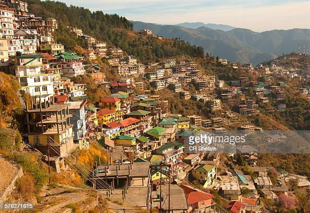 city on step hillside - shimla stock pictures, royalty-free photos & images
