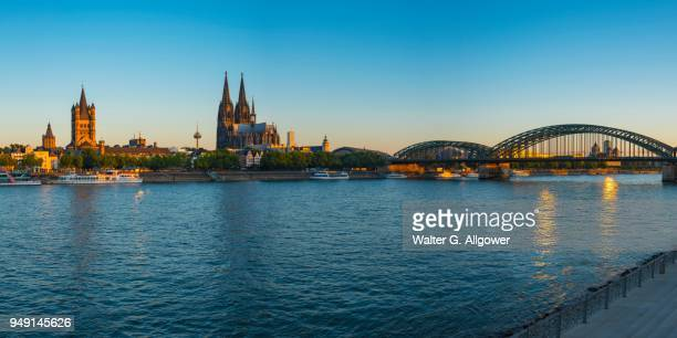 city panorama of cologne, rhine, old town, with church gross st. martin, cologne cathedral and hohenzollern bridge, cologne, north rhine-westphalia, germany - cologne cathedral stock photos and pictures