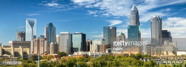 city panorama skyline of downtown charlotte north carolina usa - charlotte north carolina stock photos and pictures