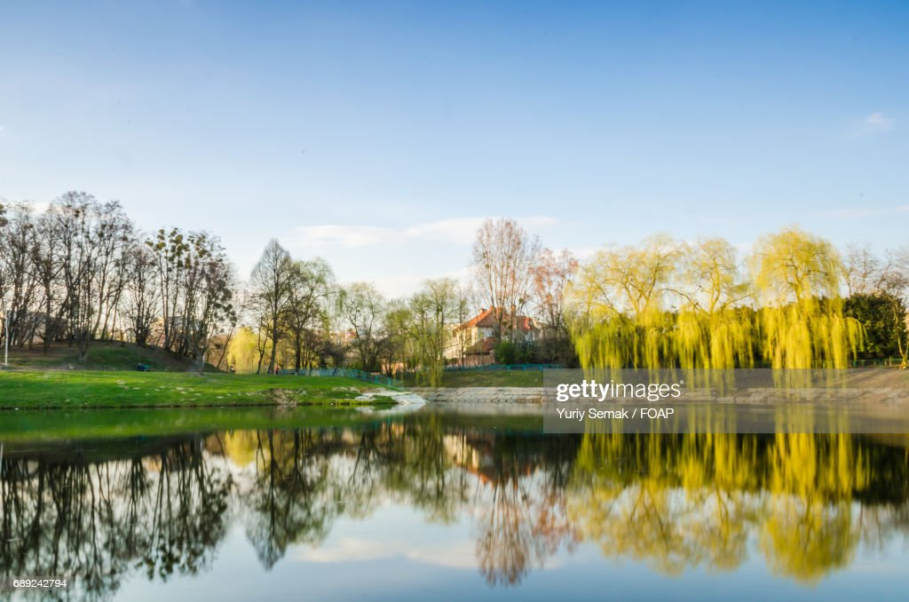 City park with lake in the spring season : Stock Photo