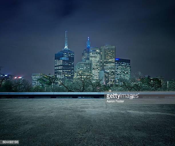 City Parking Lot at Night