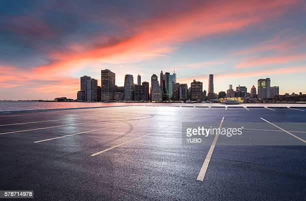city parking lot - dusk stock pictures, royalty-free photos & images