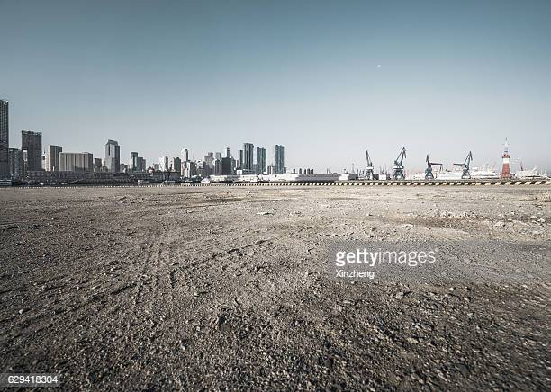 City Pier, dirt road, Auto advertising background