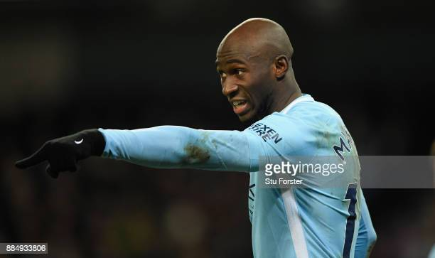 City player Eliaquim Mangala reacts during the Premier League match between Manchester City and West Ham United at Etihad Stadium on December 3 2017...