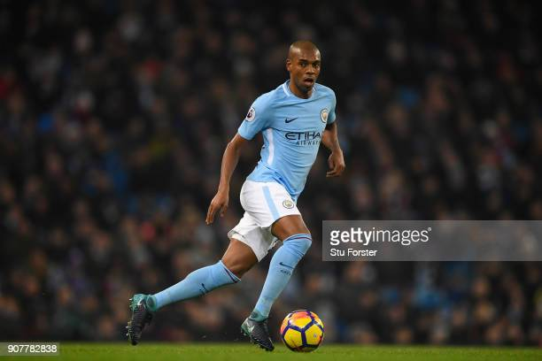 City player Fernandinho in action during the Premier League match between Manchester City and Newcastle United at Etihad Stadium on January 20 2018...