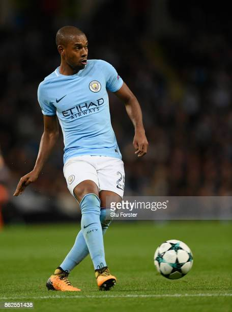 City player Fernandinho in action during the UEFA Champions League group F match between Manchester City and SSC Napoli at Etihad Stadium on October...
