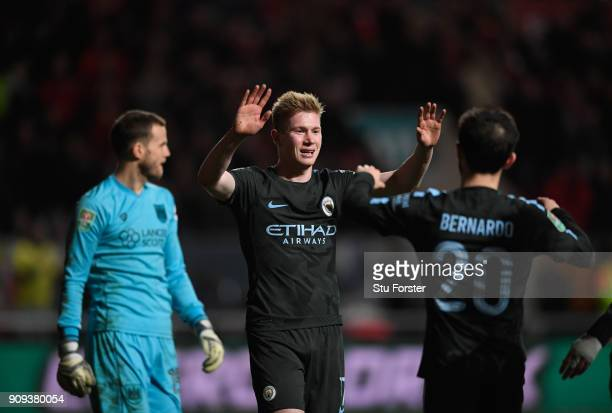 City player Kevin De Bruyne celebrates his goal during the Carabao Cup SemiFinal Second Leg match between Bristol City and Manchester City at Ashton...