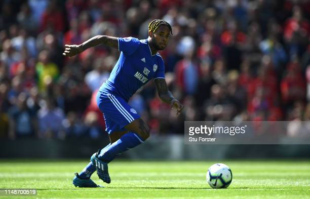 City player Leandro Bacuna in action during the Premier League match between Manchester United and Cardiff City at Old Trafford on May 12 2019 in...