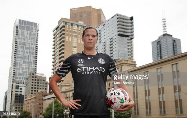 City player Lydia Williams poses during a Melbourne City WLeague Media Opportunity at Paliament Steps on February 15 2018 in Melbourne Australia...