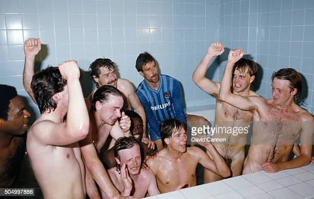 City player Mick McCarthy celebrates in the bath with team mates after the Canon League Division Two match between Manchester City and Charlton...