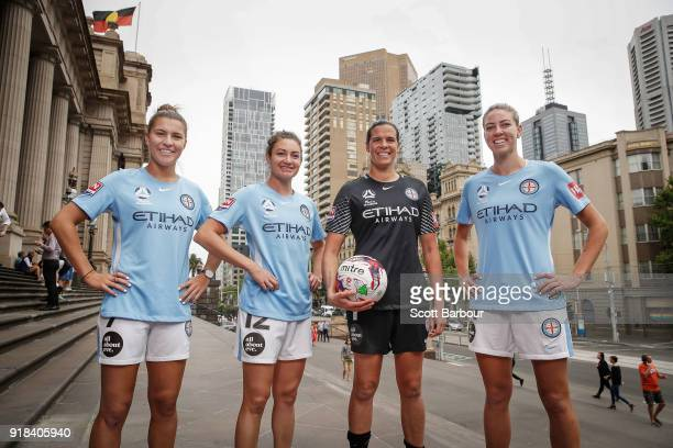 City players Lydia Williams Steph Catley Alanna Kennedy and Jodie Taylor pose during a Melbourne City WLeague Media Opportunity at Paliament Steps on...