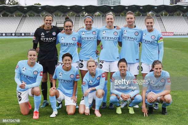 City players pose during the round six WLeague match between Melbourne City and Adelaide United at CB Smith Reserve on December 3 2017 in Melbourne...