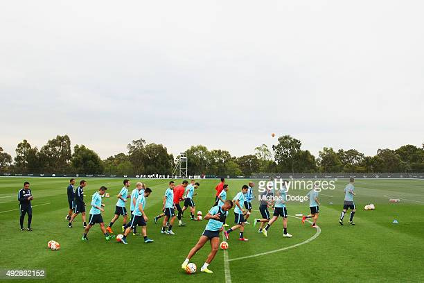 City players warm up during a Melbourne City FC training session at City Football Academy on October 16 2015 in Melbourne Australia