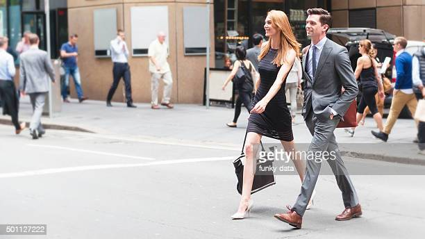 City professionals walking
